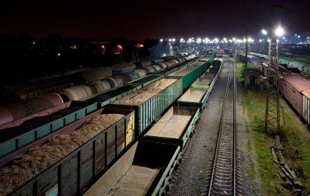 Cargo train station at night