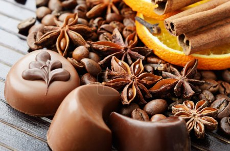 Fragrant spices, coffee and chocolate sweets