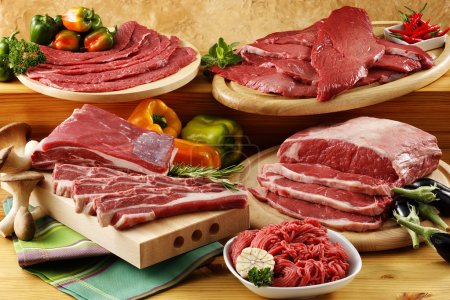 assorted raw beef meat