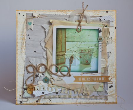 Photo pour Carte postale artisanale vintage bonjour avec un pot sur le rebord de la fenêtre - image libre de droit