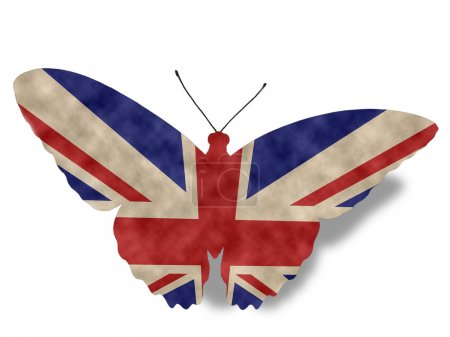Vintage style England Butterfly Flag isolated on white