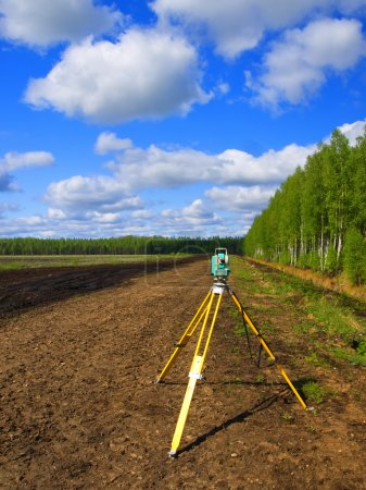 A total station on a tripod