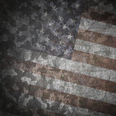 Photo pour Antécédents militaires grunge. dessin de camouflage sur le drapeau américain, rayé - image libre de droit