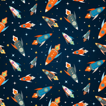 Illustration for Seamless vector pattern of colorful rockets in outer space among the stars - Royalty Free Image