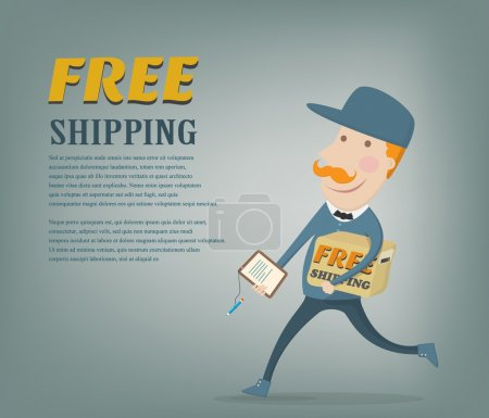 Free shipping. Courier delivering a package