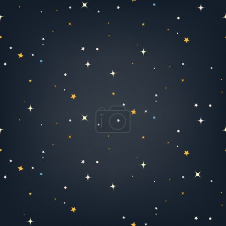 Illustration for Night sky with stars seamless vector pattern - Royalty Free Image