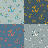 Set of 4 seamless  nautical  patterns with anchors