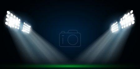 Four spotlights on a football field vector...