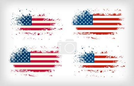 Illustration for Grunge american ink splattered flag vectors - Royalty Free Image