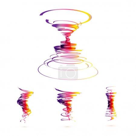 Illustration pour Ensemble d'icônes vectorielles de tornade - image libre de droit