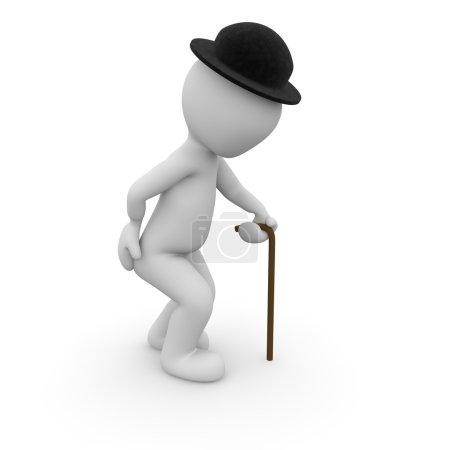 Photo pour Un vieil homme est courbé à l'aide d'un bâton de marche . - image libre de droit