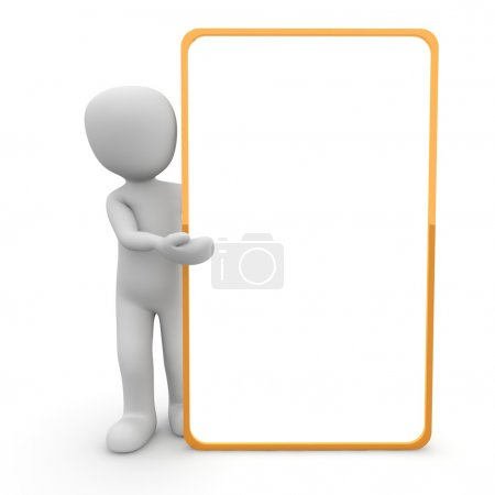 Photo for A character presented a large, orange border panel. - Royalty Free Image