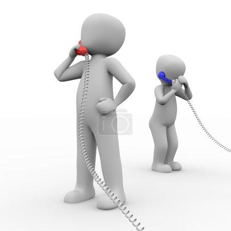 Foto de Dos personajes hacen llamadas con un teléfono rojo y uno azul. - Imagen libre de derechos