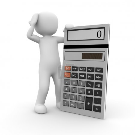 Photo for A character expects a difficult task with a calculator. - Royalty Free Image