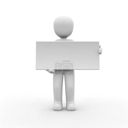 Photo pour Un personnage tient une très grande toile blanche . - image libre de droit