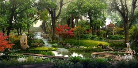 Photo pour La visualisation 3D du paysage montre des arbres, des arbustes et d'autres plantes dans le gelant ou l'environnement naturel comme une visualisation 3D . - image libre de droit
