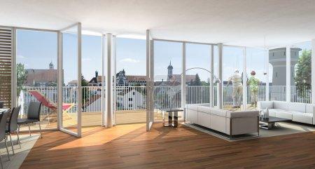 eine Visualisierung einer Innenarchitektur für einen Wohnbereich plus Hotel
