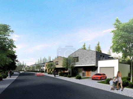 Foto de Casa de renderizado 3D está parado para comercialización rápida y eficaz de corredor de bienes raíces de alta calidad en el negocio - Imagen libre de derechos
