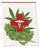 Medical marijuana bud in bag illustration vector