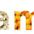 Vitamins Word Concept Made From Fruits And Vegetables
