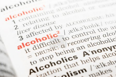 Alcoholic Word Definition In Dictionary Close Up...