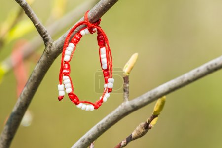 Red And White Martisor Decoration Hanging On A Tree