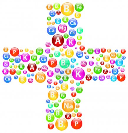 Medical Cross Symbol With Vitamins And Minerals