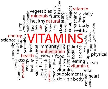 Illustration for Vitamins Word Cloud Concept Illustration - Royalty Free Image