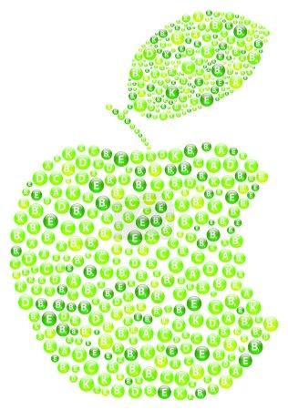 Illustration for Green Apple Bite Vitamins Concept - Royalty Free Image