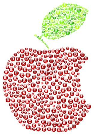 Illustration for Red Apple Bite Vitamins Concept - Royalty Free Image
