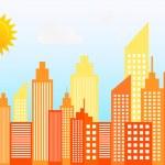 Modern City Skyscrapers Skyline On Sunny Day Vecto...