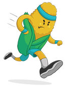 Vector illustration of a cartoon corn running is some fitness clothing Fully editable