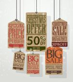 Christmas sale tags. Vintage style tags and labels