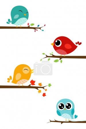 Illustration for Vector Illustration of Birds sitting on branches - Royalty Free Image