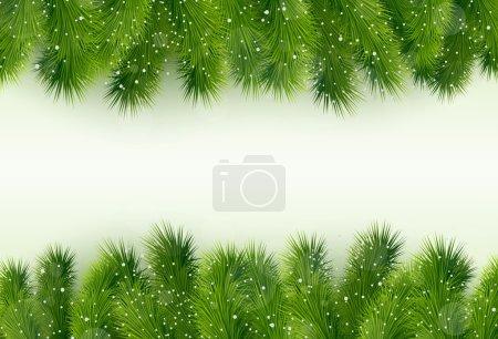 Christmas greeting with fir tree and balls