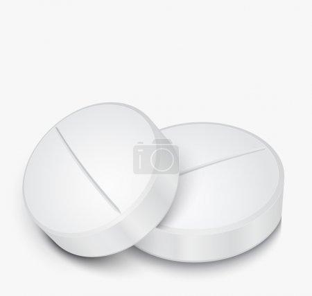 Illustration pour Illustration vectorielle de pilule blanche sur fond gris - image libre de droit