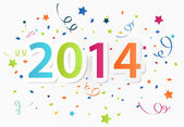 Happy New Year 2014 with colorful celebration background