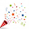 Vector Illustration of exploding party popper...