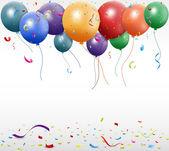 Birthday celebration with balloon and ribbon