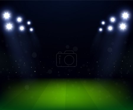Football Stadium at night with spotlight