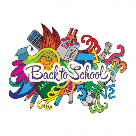Back to School lettering and doodles elements back...