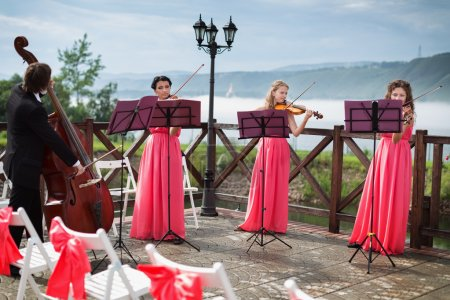 Photo pour Quatuor de musiciens classiques qui jouent à un mariage en plein air près de la rivière - image libre de droit
