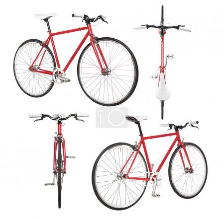 Photo pour Vélo de ville engin de quatre vue isolé sur blanc fixé - image libre de droit