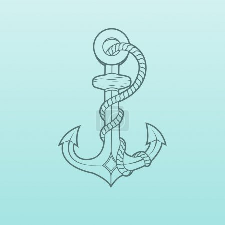 Illustration for Nautical Anchor with rope isolated on green background. Green outlines. Vector Illustration - Royalty Free Image