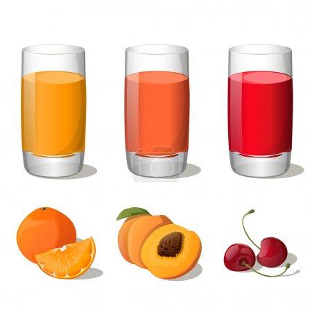 Illustration pour Ensemble de jus en verre (orange, pêche, cerise) isolé sur fond blanc. Illustration vectorielle. Tous les fruits sont en groupes et faciles à utiliser . - image libre de droit
