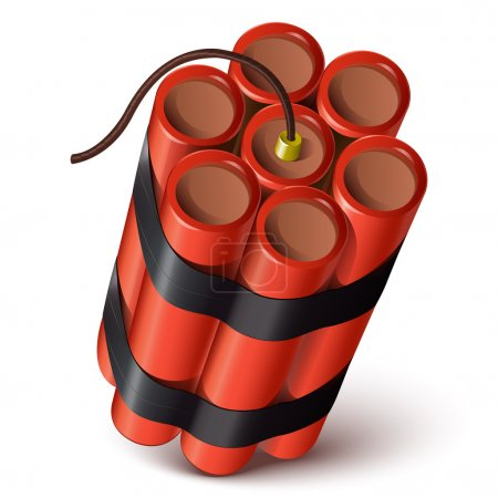 Bundle of red dynamite isolated on a white background. Vector illustration