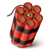 Bundle of red dynamite isolated on a white background Vector illustration
