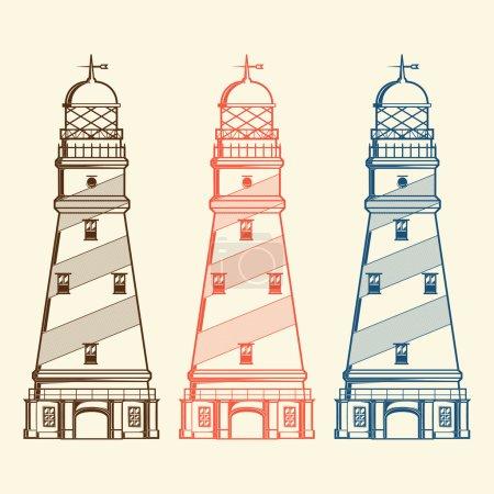 Illustration for Retro lighthouses set isolated on white background. Line art. Modern design. Vector illustration - Royalty Free Image