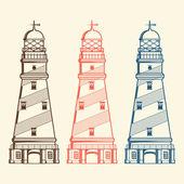 Retro lighthouses set isolated on white background Line art Modern design Vector illustration