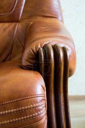 Vintage old leather sofa corner